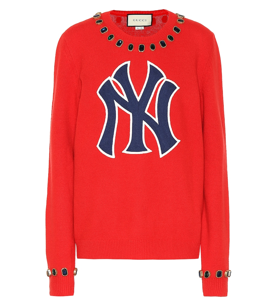 Women'S Sweater With Ny Yankees&Trade; Patch in Red