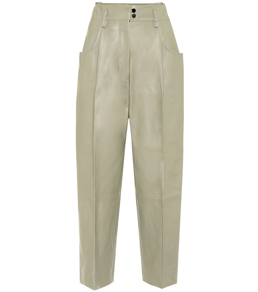 Pantalon Harris à taille haute en cuir