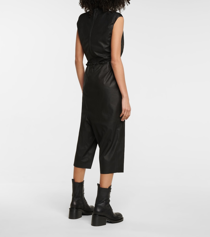 ANN DEMEULEMEESTER Cropped pants ASYMMETRICAL CROPPED LEATHER PANTS