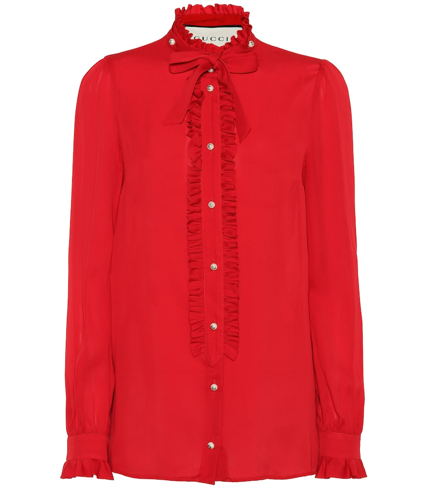 Embellished Ruffled Silk Crepe De Chine Blouse in Red