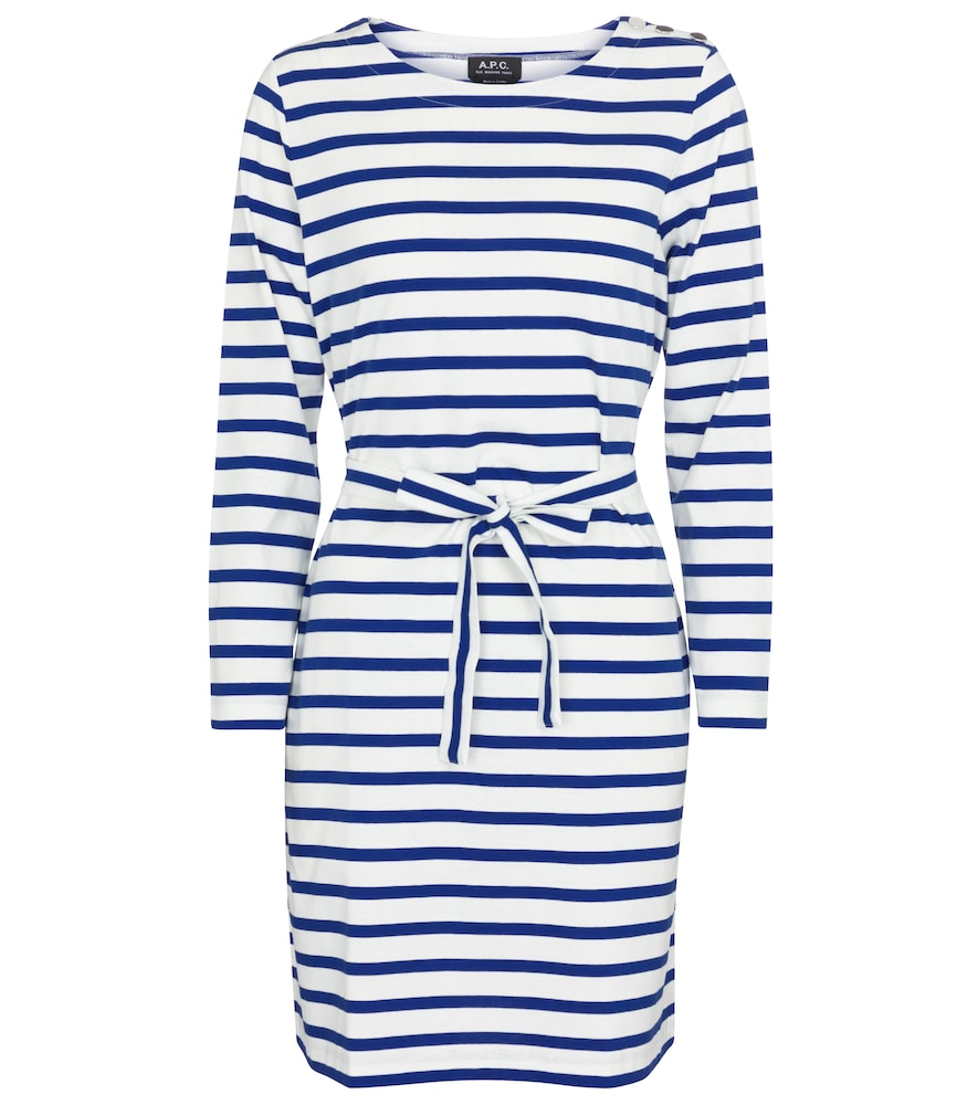 A.p.c. FLORENCE STRIPED COTTON JERSEY DRESS