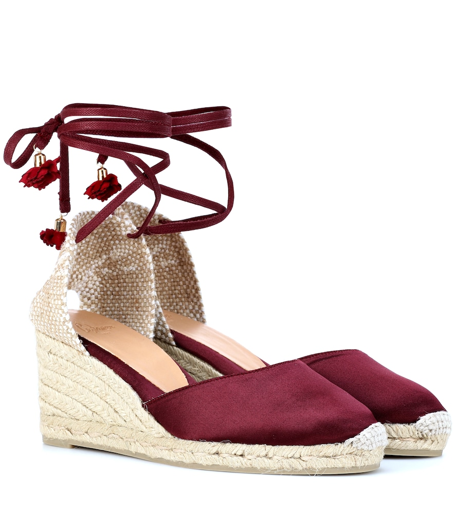 Carina Satin Wedge Espadrilles in Red
