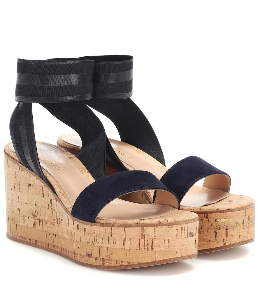 Gianvito Rossi Elastic Strap Cork Wedge Sandals In Blue
