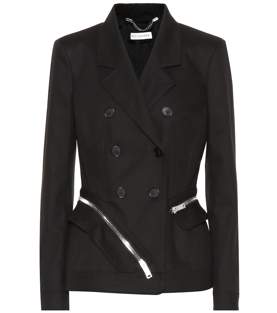 Altuzarra Zip-Around Cotton Slim Double-Breasted Jacket - Black