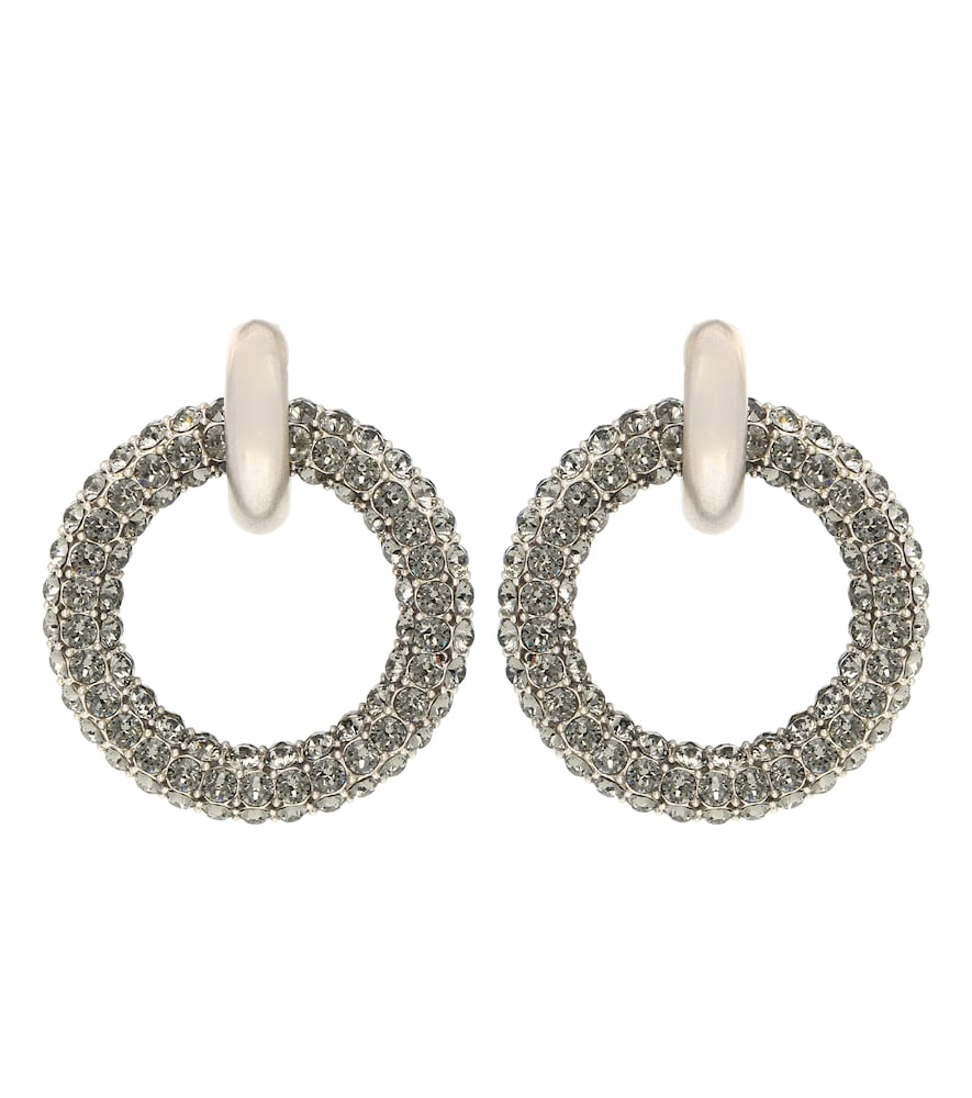Crystal-Embellished Hoop Earrings in Silver