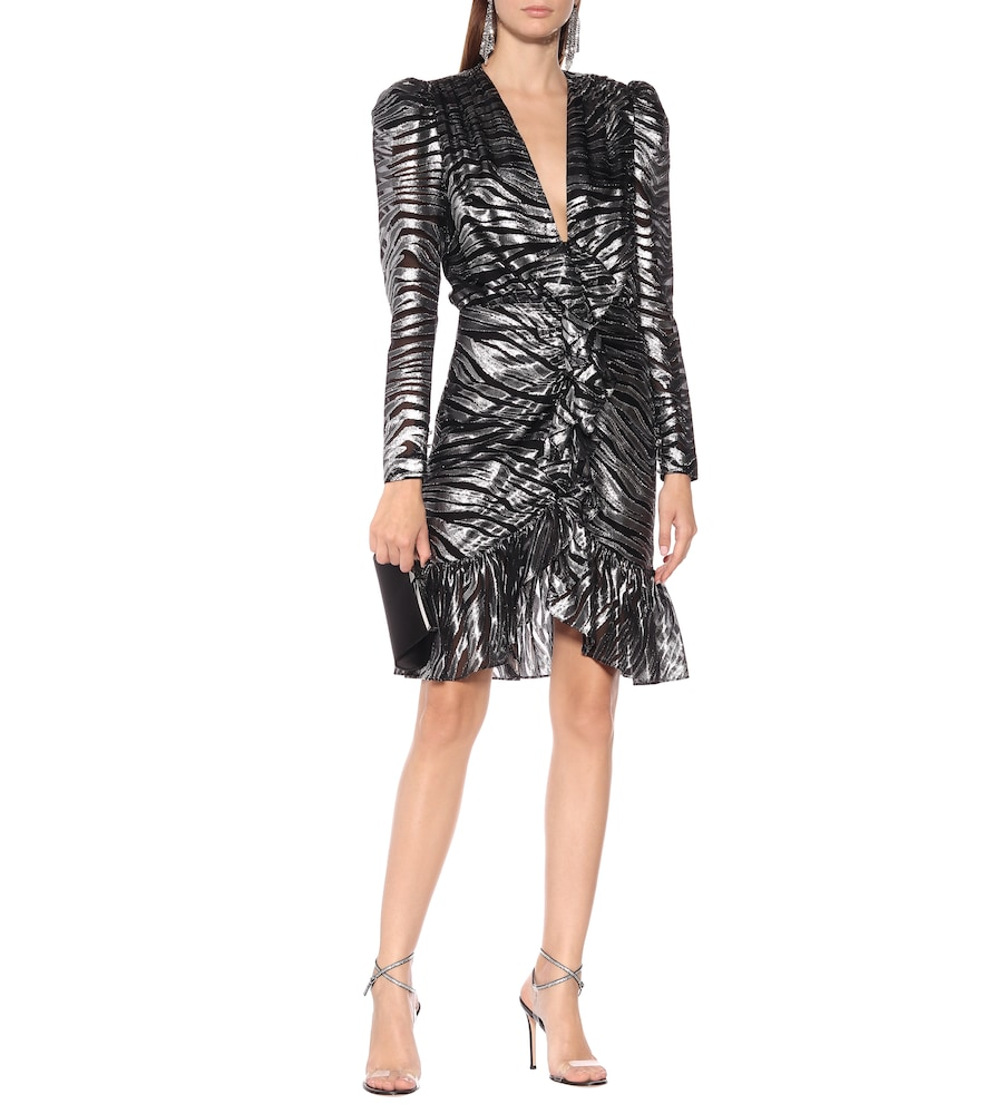 Zebra-print silk-blend minidress by Dundas