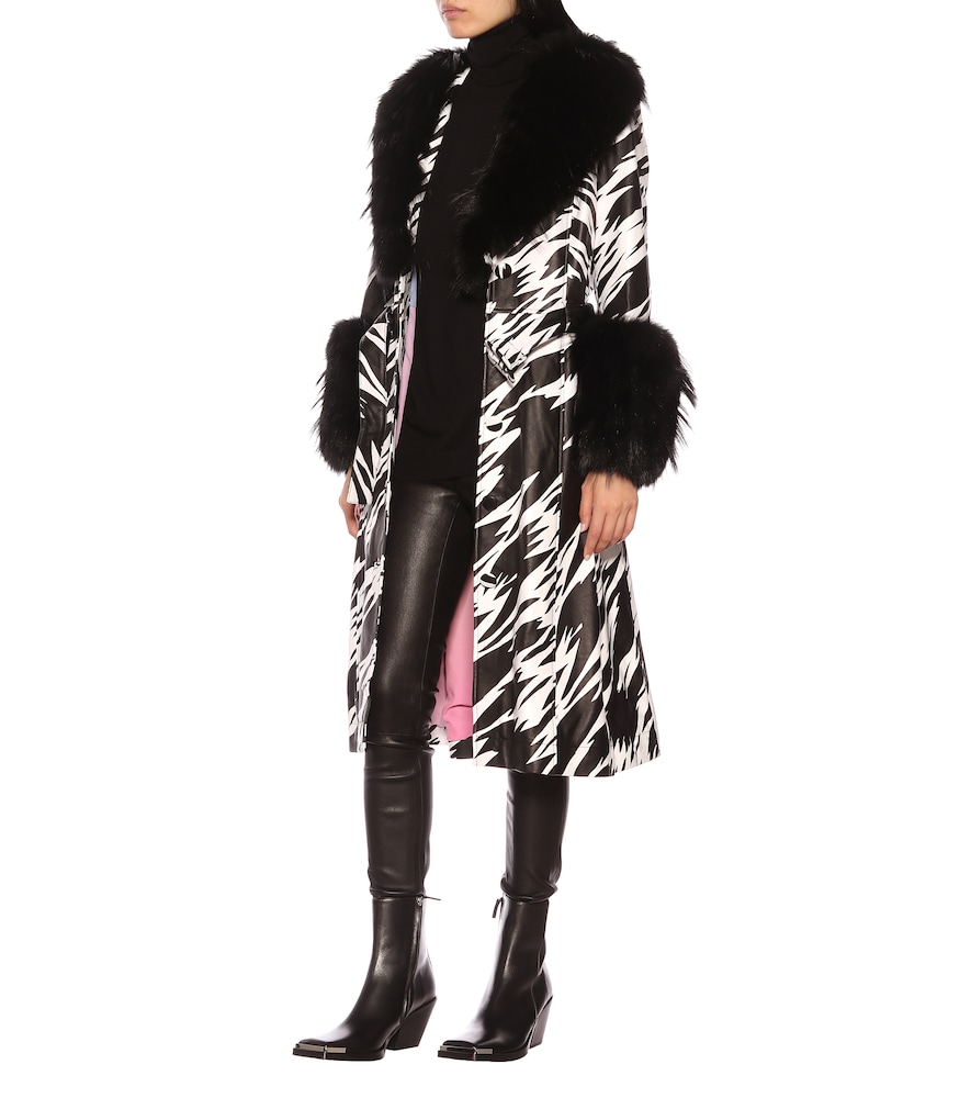 Foxy fur-trimmed leather coat by Saks Potts