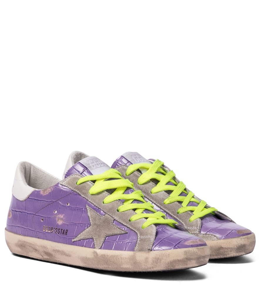 Superstar croc-effect leather sneakers