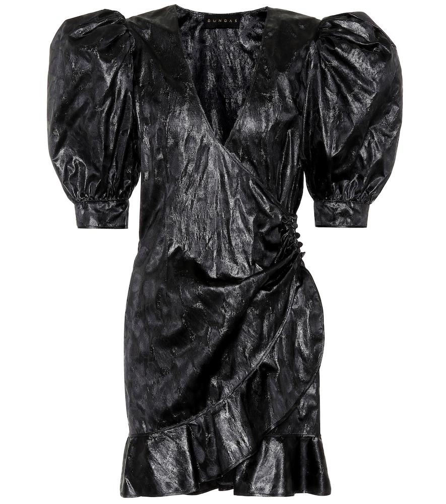 Robe portefeuille en jacquard de soie mélangée
