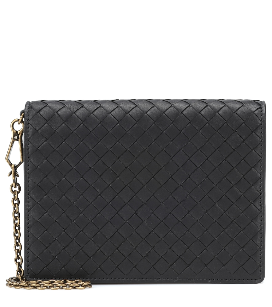 Intrecciato Leather Clutch in Black