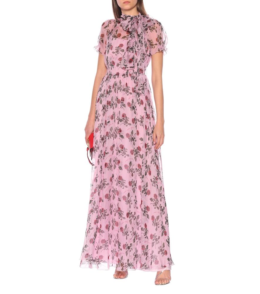 Floral silk-chiffon dress by Valentino