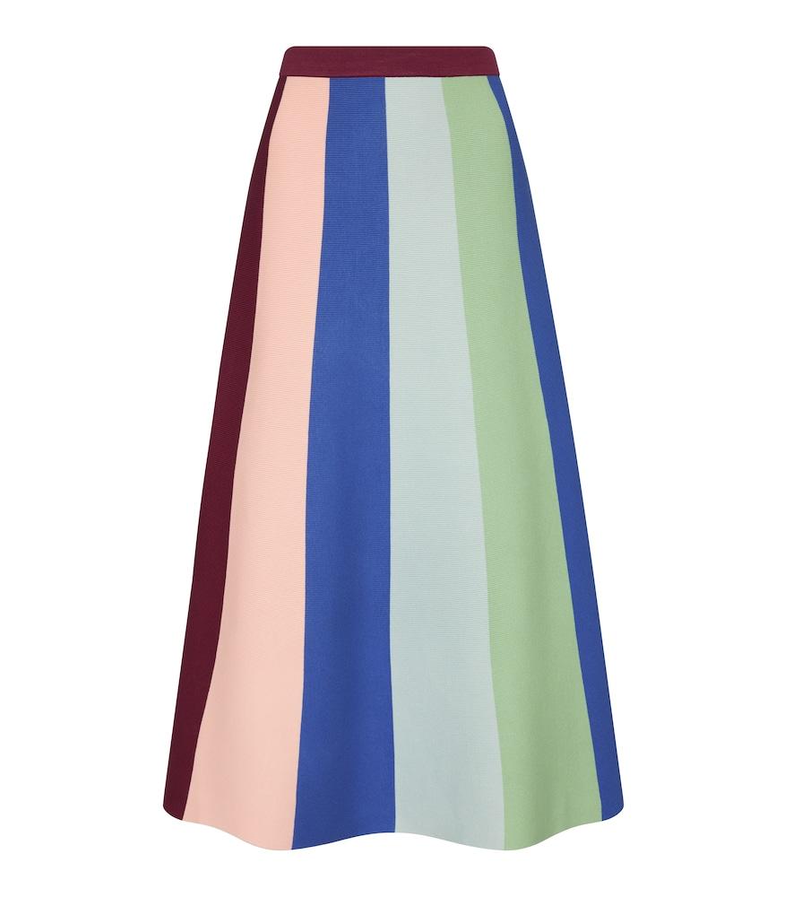 Victoria Victoria Beckham Striped Stretch-knit Midi Skirt In Multicoloured