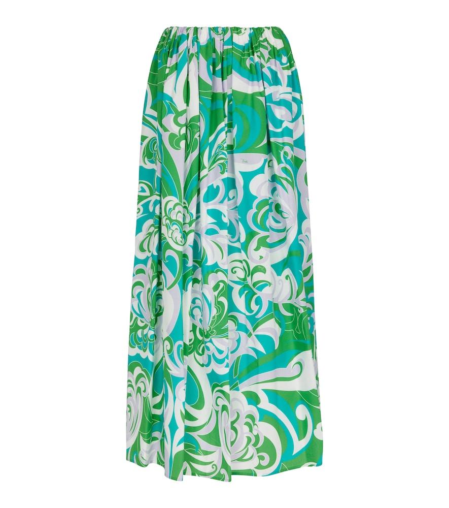 Printed cotton maxi skirt