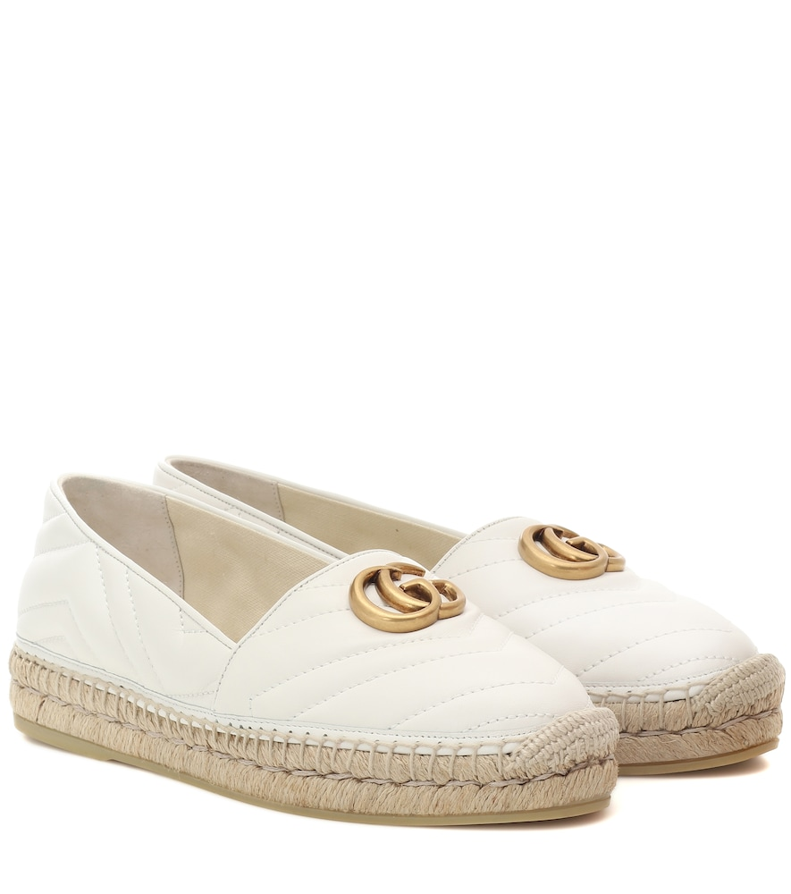 Gucci Marmont Quilted Leather Espadrilles In White