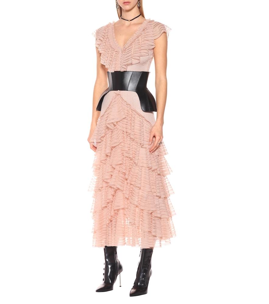 Engineered sheer silk dress by Alexander McQueen
