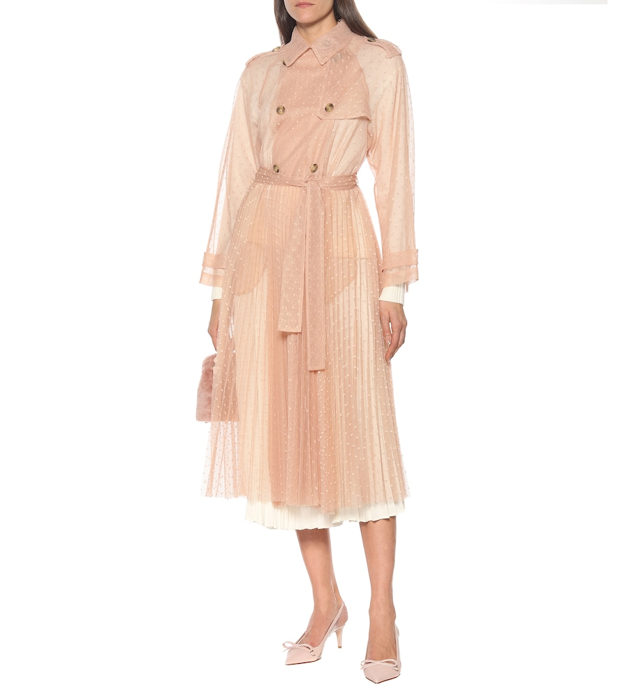 Pleated tulle trench coat by REDValentino