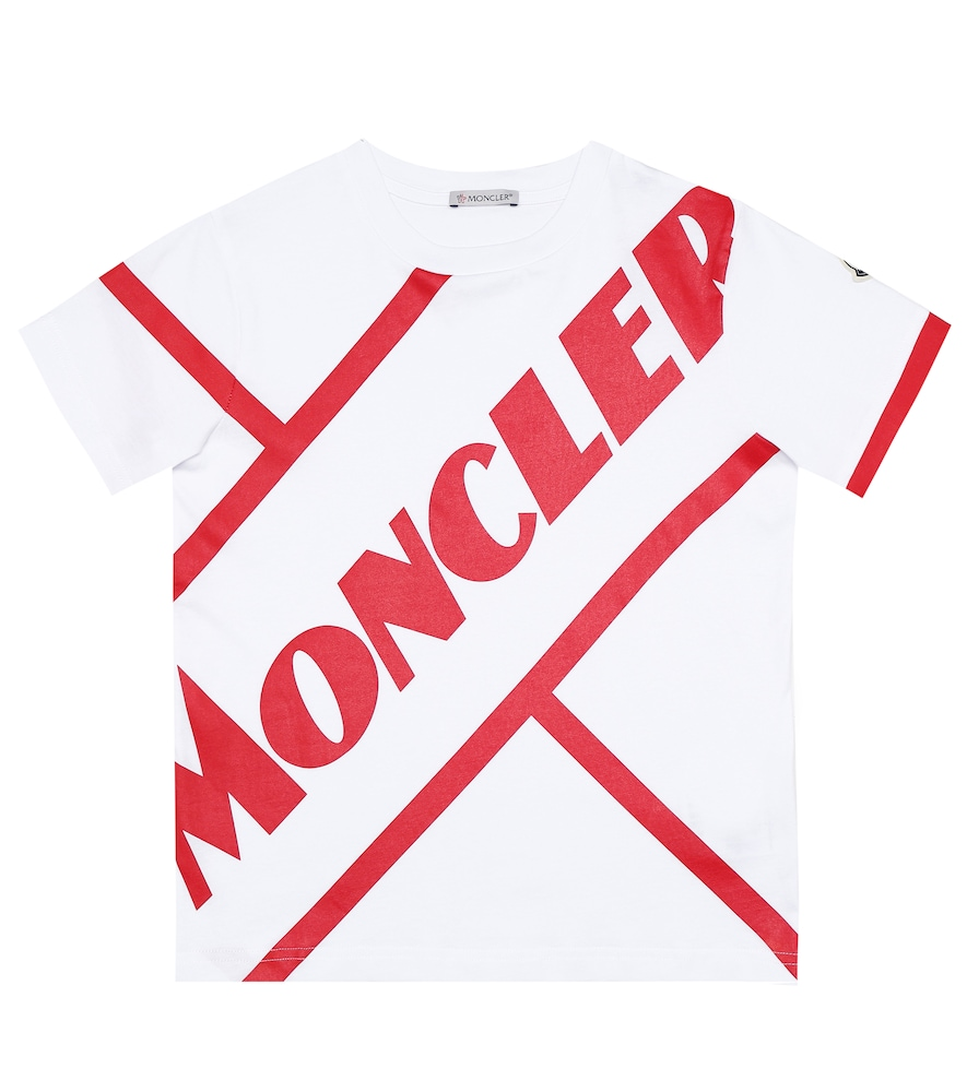 Moncler Kids' Jersey Jersey Round Neck Logo Tee In White