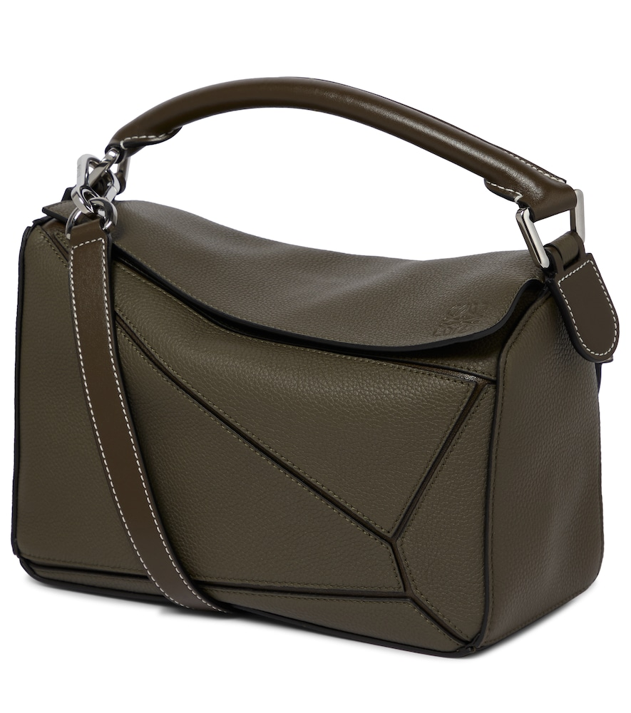 Loewe Puzzle Small Leather Shoulder Bag In Green