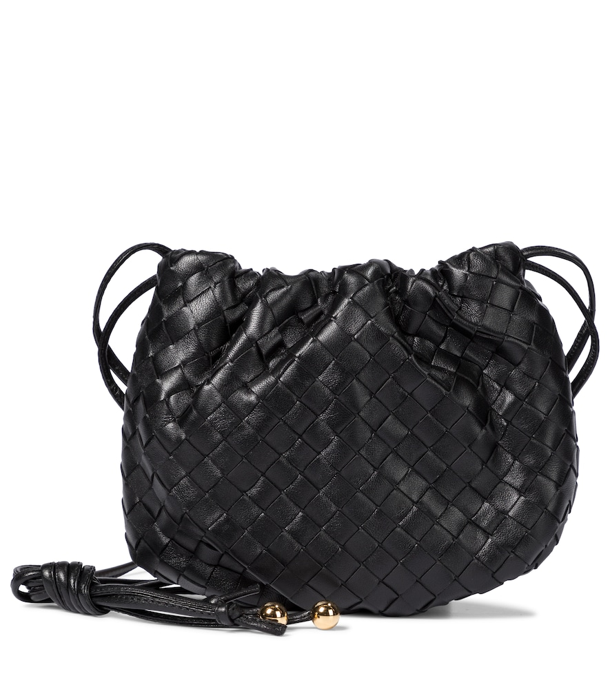 Bottega Veneta The Mini Bulb Gathered Intrecciato Leather Shoulder Bag In Black