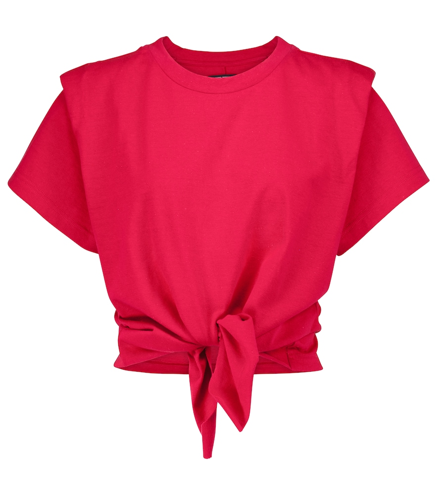 Isabel Marant Cottons ZELITO KNOTTED COTTON T-SHIRT