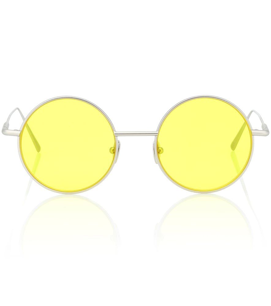 Round Sunglasses Silver Satin/Yellow in Yellow Multi from Acne Studios
