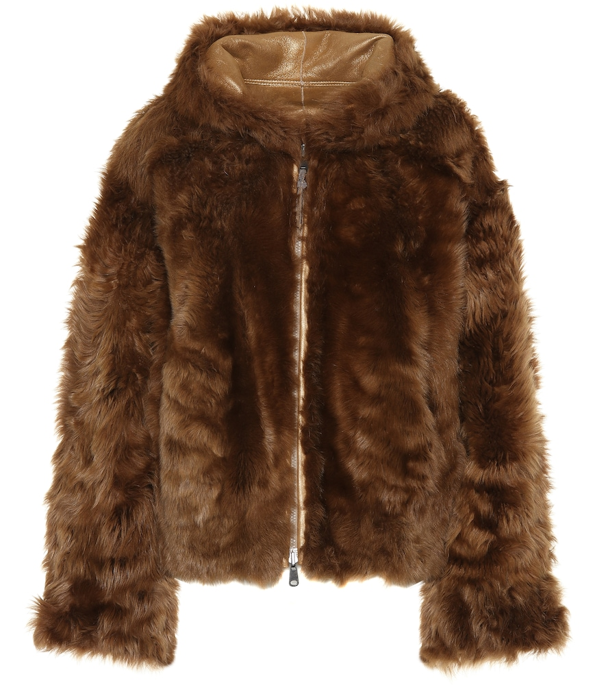 5ff1c680a6 Zip-Front Reversible Sheep Fur/Metallic Chubby Jacket in Brown