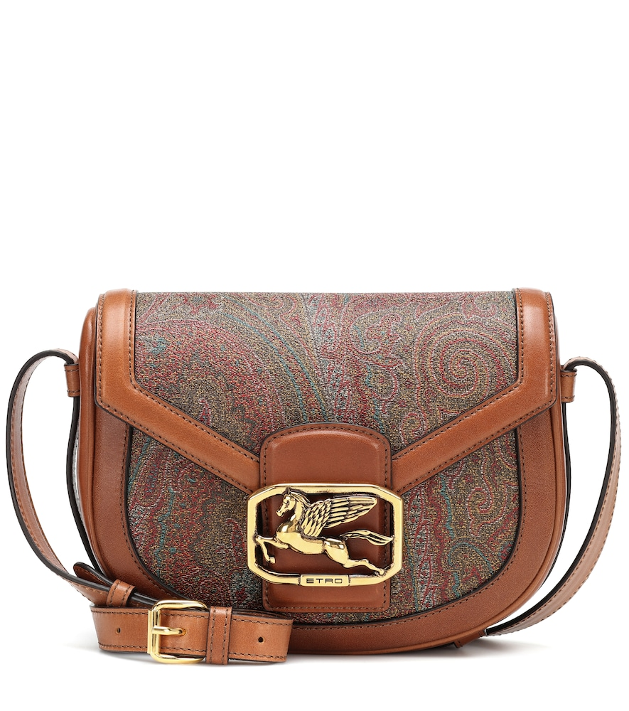 Etro Pegaso Printed Leather Shoulder Bag In Brown