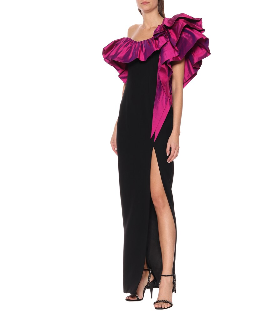 Satin-trimmed gown by RASARIO