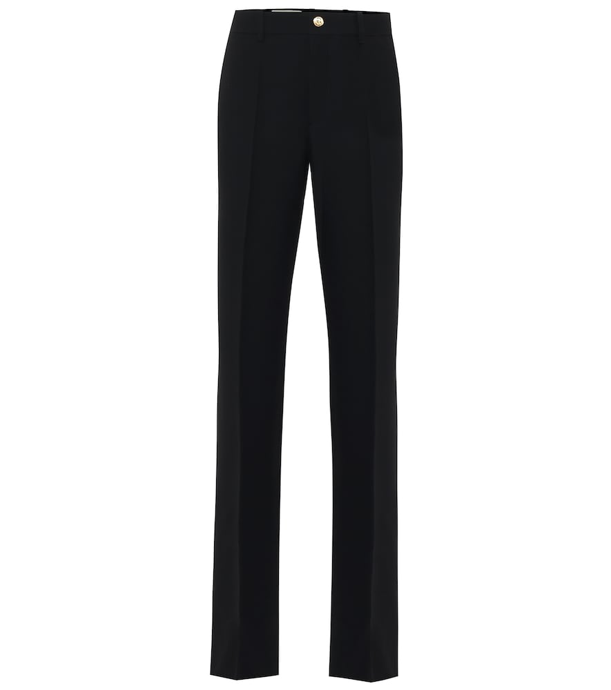High-rise flared silk and wool pants