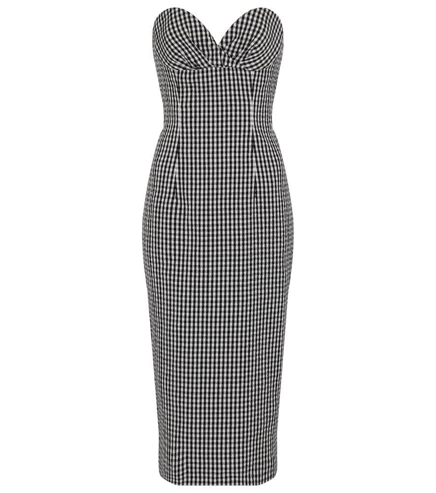 Balmain GINGHAM SEERSUCKER BUSTIER MIDI DRESS