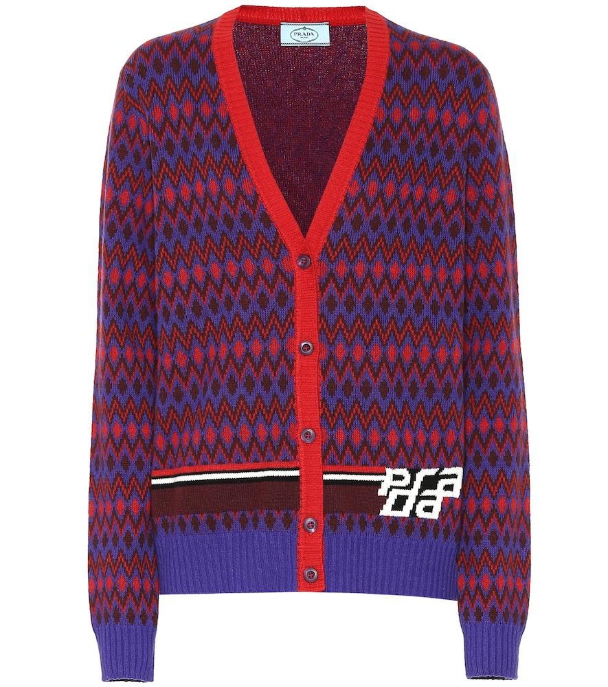 PRADA Intarsia Wool And Cashmere-Blend Cardigan, Pink & Purple