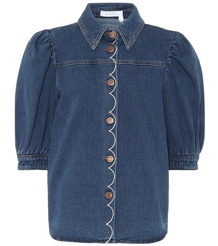 Chemise brodée en jean