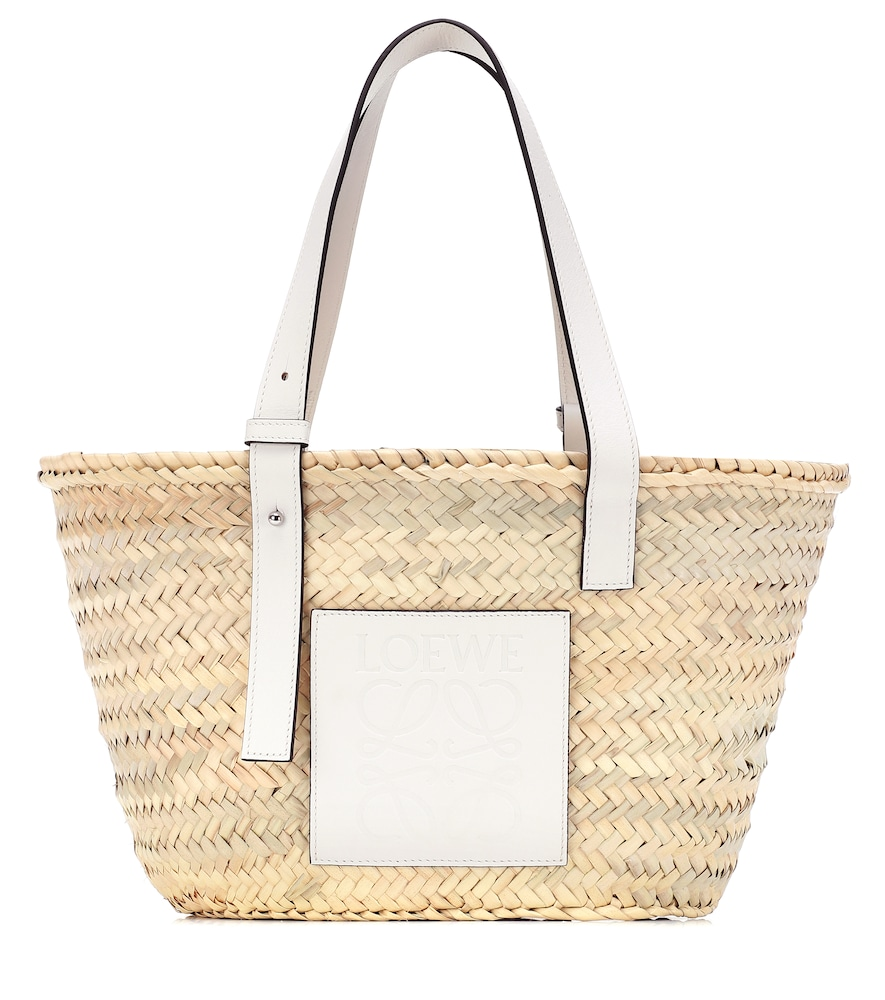 Medium leather-trimmed basket tote