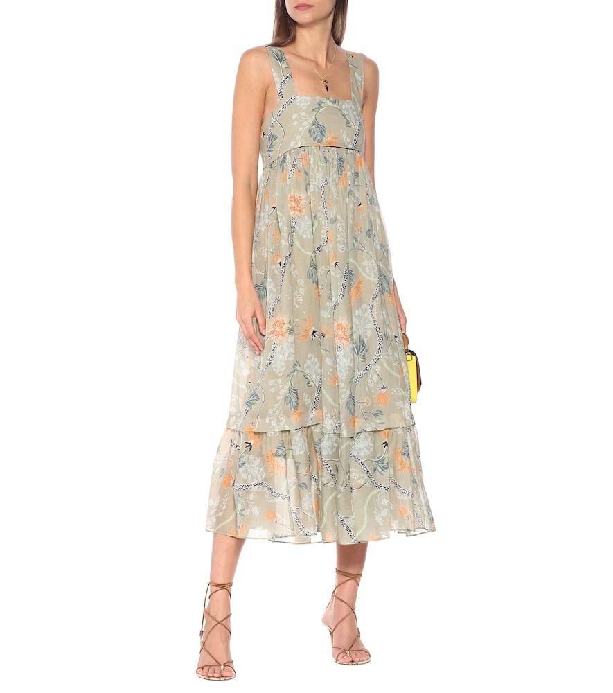 Empire-waist ramie midi dress by Chloé
