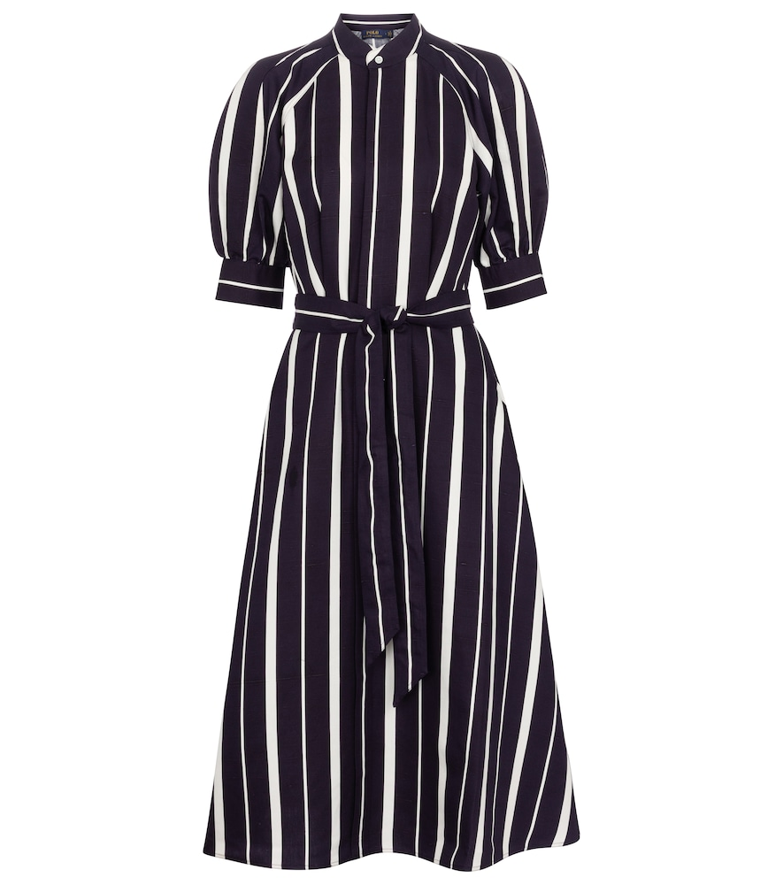Polo Ralph Lauren STRIPED SILK MIDI SHIRT DRESS