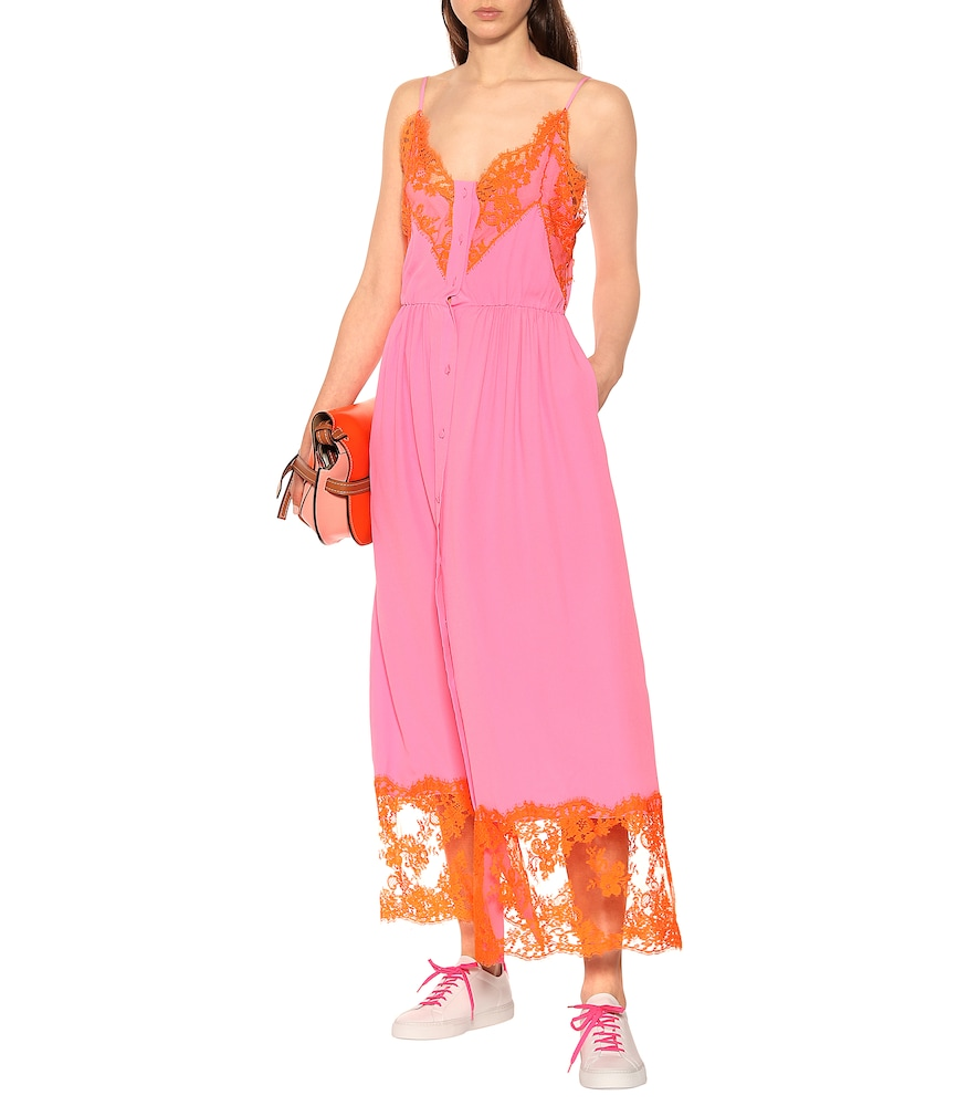 Silk-blend dress with shorts by MSGM
