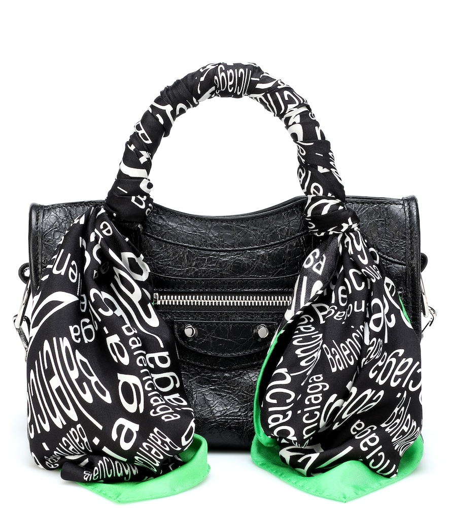 Balenciaga Classic City Scarf Mini Leather Tote In Black