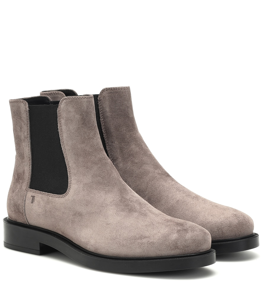 Tod's Grey Suede Pull On Ankle Boots