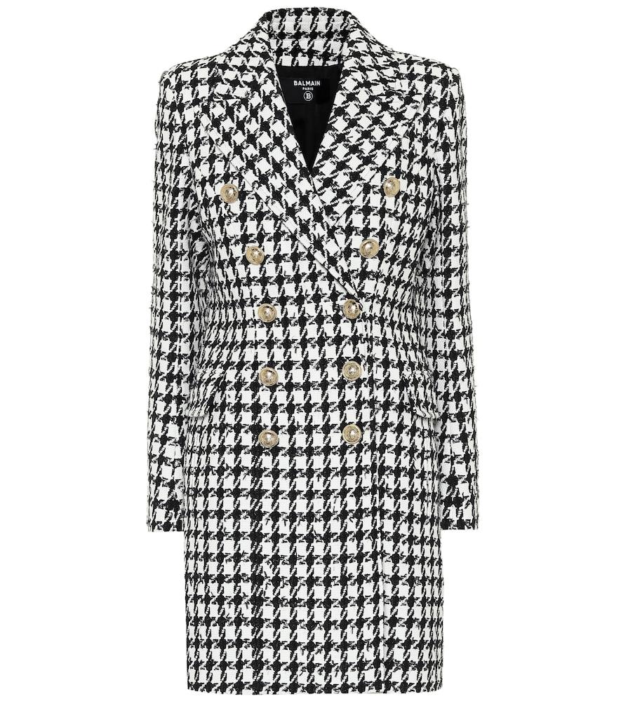 Manteau en coton mélangé à carreaux - Balmain - Modalova