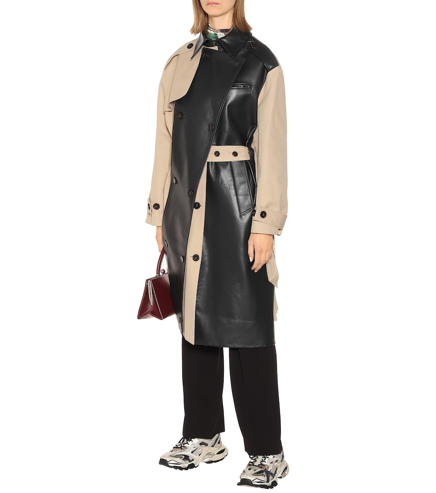 Leather and cotton trench coat by Rokh