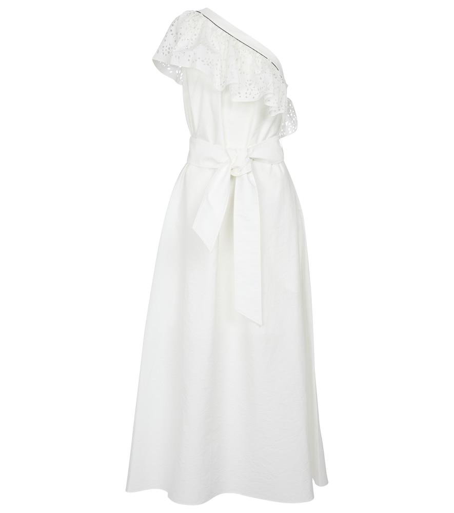 One-shoulder cotton-blend midi dress