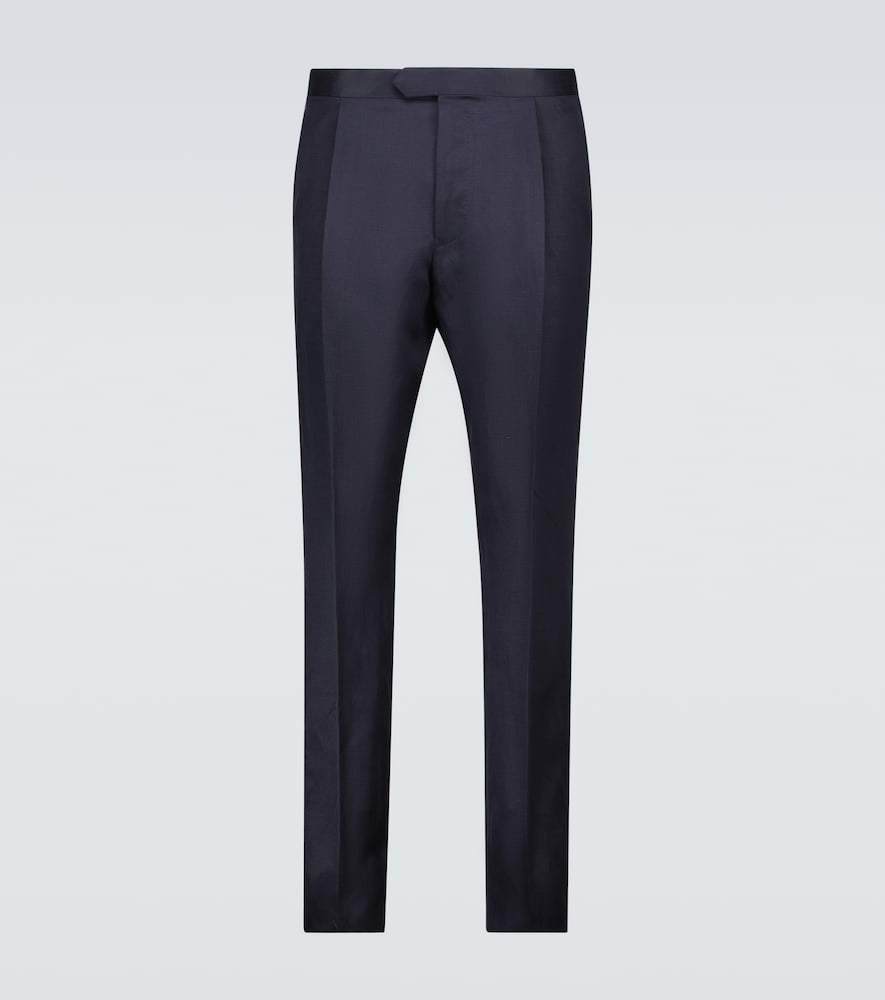 Tailored silk and linen pants
