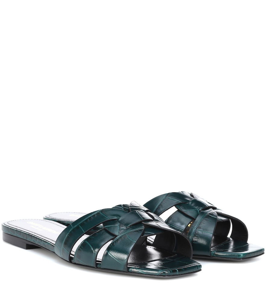 Tribute Nu Pieds Crocodile-Effect Leather Slides, Green