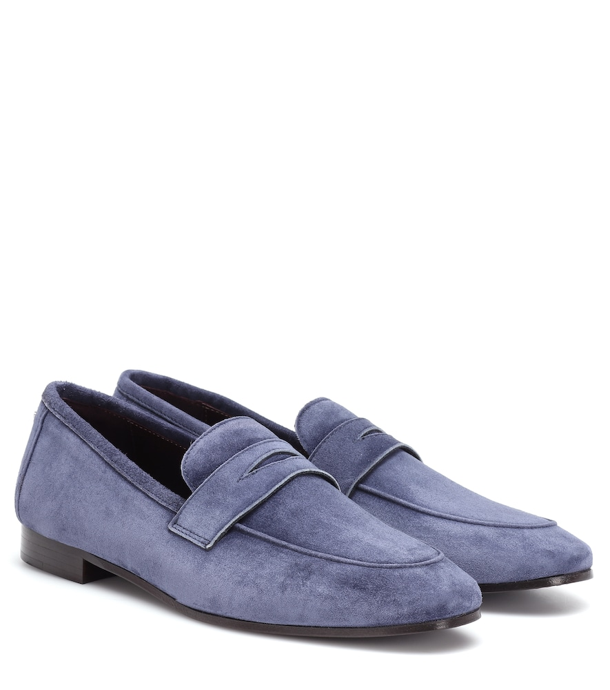 BOUGEOTTE Flaneur Suede Loafers in Blue