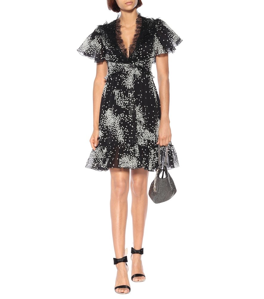 Ruffled printed silk minidress by Giambattista Valli