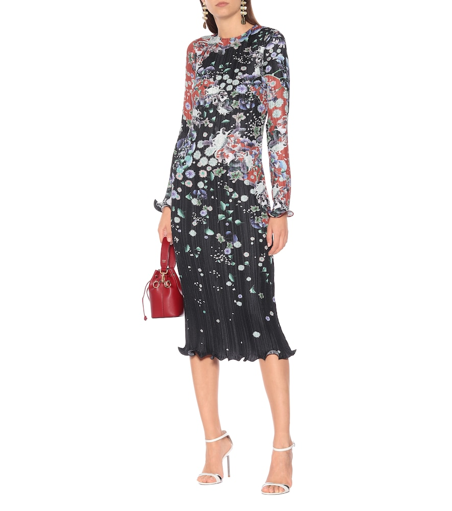 Pleated floral satin dress by Givenchy