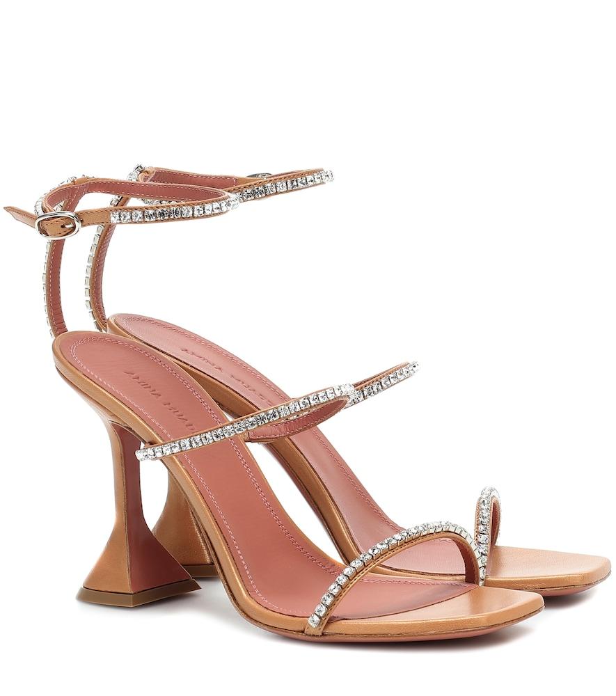 Amina Muaddi Gilda Embellished Leather Sandals In Beige