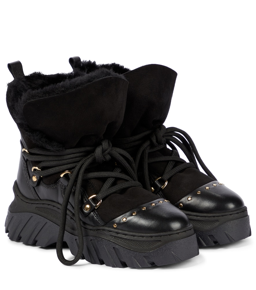 Leather and suede hiking boots