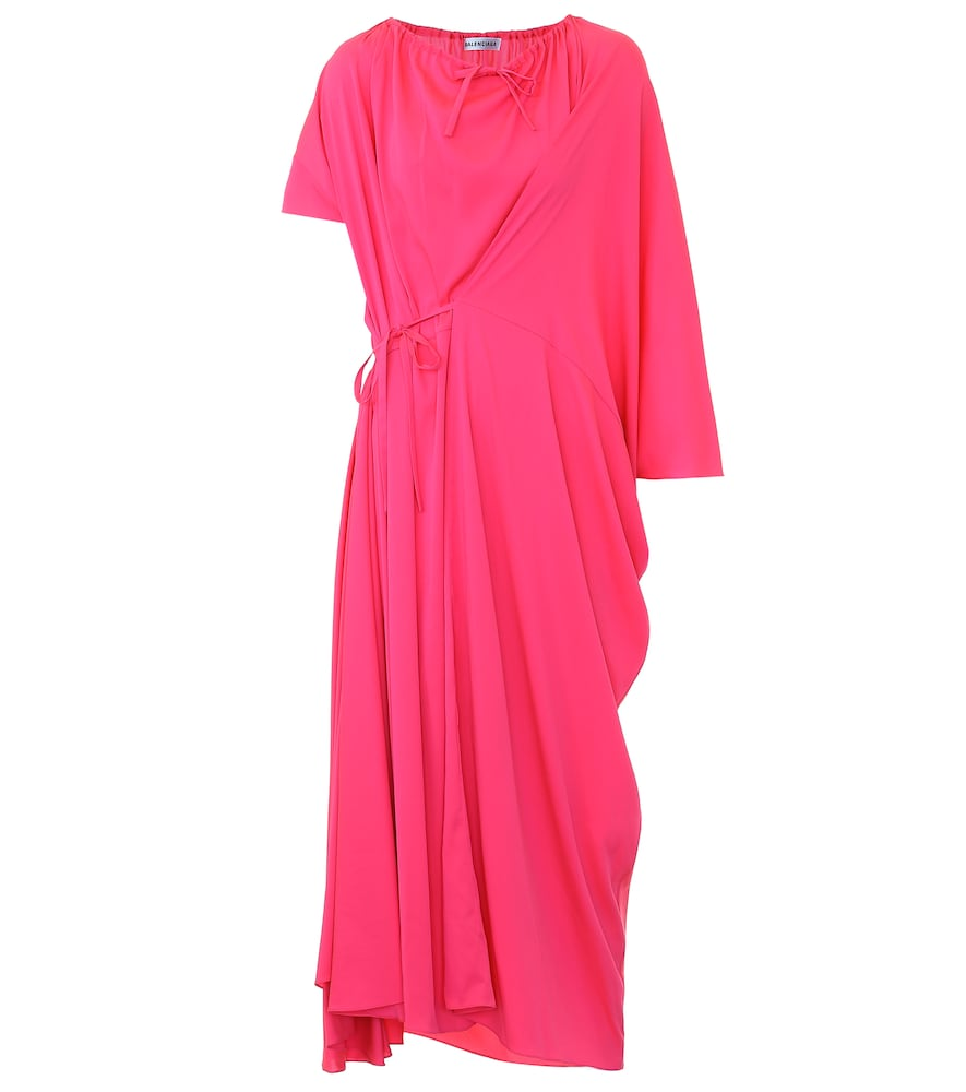 Asymmetric crêpe midi dress