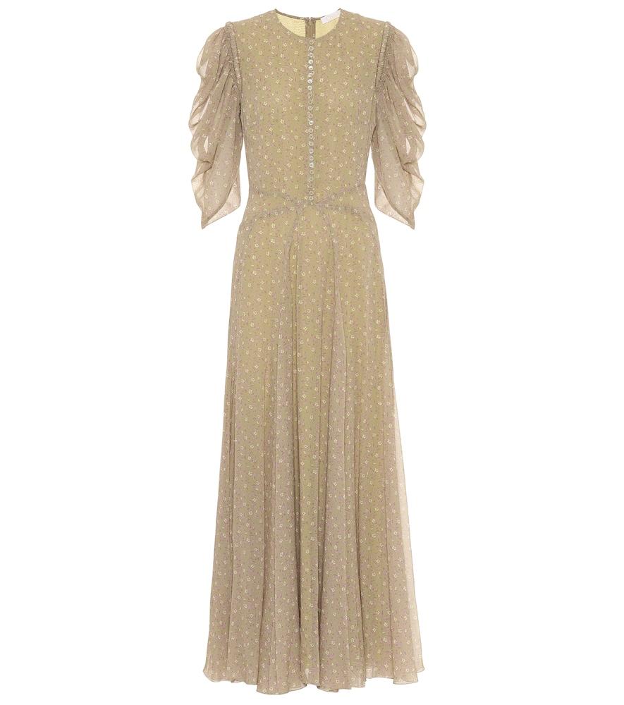 Floral-print silk-georgette dress
